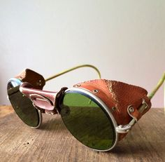 Steampunk Leather Motorcycle Sunglasses Goggles by veraviola