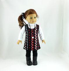 "American Girl 18"" doll clothes 6 pc set black red jumper, leggings, turtleneck. $33.00, via Etsy."