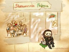 poor Loki didn't get any shawarma :( I love how Mjölnir is sitting on Loki's chains to keep him there