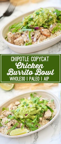 This chicken burrito bowl is the ultimate chipotle copycat! Its whole30 compliant, paleo, and AIP.