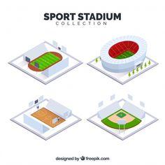 Colección de estadios deportivos en estilo isométrico vector gratuito Sports Stadium, Kids Rugs, Design, Decor, Free Vector Art, Icons, Sports, Style, Decoration