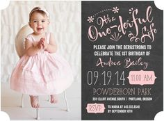 One-derful Life: Soft Pink - Birthday Party Invitations in Soft Pink   Picturebook