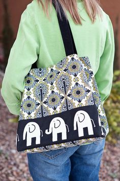 Tote bag- Cotton- Black Elephant- Black and white and yellow diamond pattern- by beckyzimmdesign