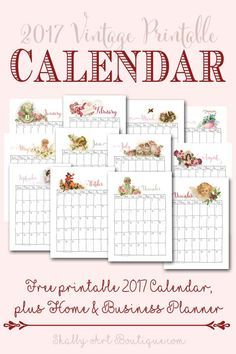 Free 2017 vintage printable calendar by Shabby Art Boutique. Beautiful printed on watercolour paper and displayed on a clip board or print on matt photo paper and use with my other printable in your yearly planner. Click to download.
