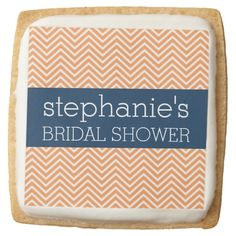Navy Blue and Orange Chevron Pattern Bridal Shower Square Premium Shortbread Cookie