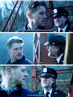 """""""You're a fighter, Jim. Do you stay down? Or do you get back up?"""" - Harvey and Jim #Gotham"""
