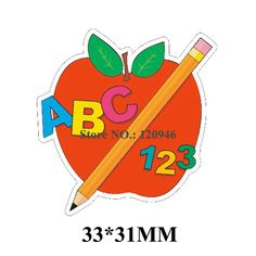 50pcs 33*31MM Cartoon Back To School Resin Flatback Red Apple Planar Resin DIY Craft For Home Decoration Accessories 170713