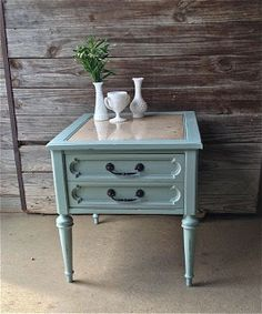 beautiful end table, marble top. Painted Duck Egg Blue  $125