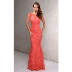 Nina Canacci 7237 Prom Under $300 Long High Neckline Sleeveless ($198) ❤ liked on Polyvore featuring dresses, gowns, coral, formal dresses, formal evening gowns, long prom dresses, lace formal gown, long formal evening dresses and mother of the bride gowns