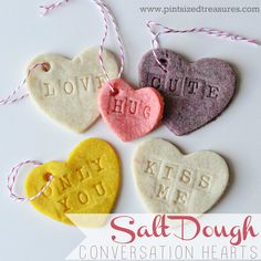 Salt Dough Conversation Hearts are so perfect for Valentine's Day! An easy, super-cute craft that's perfect for little hands!