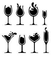 silhouette of wine glass with splash