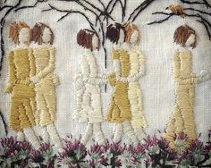 even nightingales cannot live on fairytales (detail) - embroidery on linen