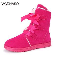 Sale 25% (24.85$) - WADNASO Winter Plush Cotton Women Mid-calf Boots Keep Warm Comfortable Lace Up Snow Boots