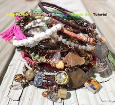 TUTORIAL for Hippy Chick Flower Girl Boho Sari Bangle Bracelets Set ON SALE For A Limited Time on Etsy, £4.45
