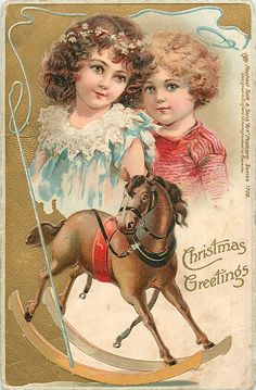 CHRISTMAS GREETINGS  boy & girl above rocking horse, whip surrounds..Artist Frances E. Brundage (unsigned)...embossed, DESIGNED IN ENGLAND, CHROMOGRAPHED IN BAVARIA First Use:26/12/1903