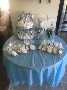 Penguin Baby Shower dessert table.                                                                                                                                                                                 More