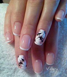 white-and-black-floral-accented-french-nails