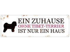 Vintage Blech Schild EIN ZUHAUSE TIBET TERRIER von Interluxe via dawanda.com