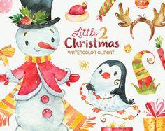 Little Christmas 2. Watercolour clipart Snowman by StarJamforKids