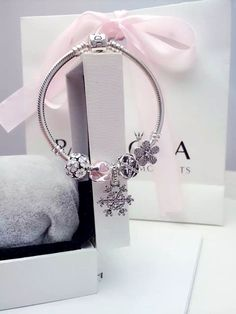 50% OFF!!! $159 Pandora Charm Bracelet Pink White. Hot Sale!!! SKU: CB01983 - PANDORA Bracelet Ideas
