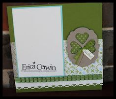 """Stampin' Up 6"""" X 6"""" Shamrock Scrapbook Page made with Label and Heart Framelit"""
