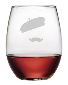 Susquehanna Glass Clear French Beret Stemless Wine Glass - Set of Four Wine Glass Set, Stemless Wine Glasses, Cocktails, Drinks, Beret, French, House, Tableware, Apartment Ideas