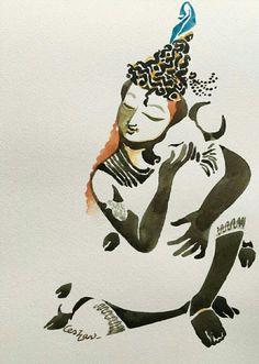 Krishna Painting, Krishna Art, Watercolor Illustration, Watercolor Art, Indian Illustration, Art Sketches, Art Drawings, Kerala Mural Painting, Indian Folk Art