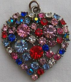 Your place to buy and sell all things handmade Vintage Gifts, Retro Vintage, Jewel Colors, Vintage Heart, Stone Heart, Faceted Glass, Diamond Stone, Pendant Set, Sparkle