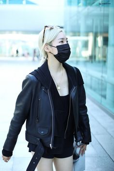 Snsd Airport Fashion, Airport Style, Jeans Style, Nike Jacket, Leather Jacket, Jackets, Shirts, Girls Generation, Tiffany