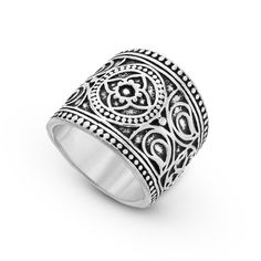 Mandala 925 sterling silver flower ring