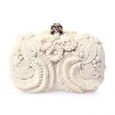 Alexander McQueen Glory skull 3D flower clutch bag — VeryFirstTo.com
