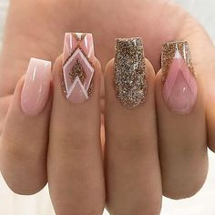 18 Trending Nail Designs That You Will Love - Best Nail Art Pink Gold Silver Glitter Geometric Manicure - French tip - Square shaped long nails - cute summer fall spring fingernails - gel nails - shellac - Gorgeous Nails, Love Nails, My Nails, Best Nails, Polish Nails, Gold Polish, Fall Nails, Nail Polishes, Gorgeous Makeup