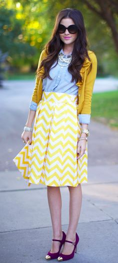 mustard + denim.  Hobby Lobby has chevron material on sale right now....Might have to get crafty and sew this!