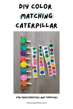 Learn how to make this easy DIY Color Matching Caterpillar! Your child will learn their colors or strengthen their color recognition while also strengthening their fine motor skills! Perfect for preschoolers and toddlers!   preschool activities   toddler activities   preschool crafts   caterpillar crafts   Kids Painting Activities, Sensory Activities Toddlers, Indoor Activities For Kids, Montessori Activities, Creative Activities, Creative Ideas, Fun Learning, Learning Activities, Toddler Learning