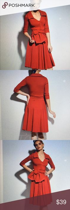 Sassy Red Dress Plain Lapel Lace Up V-Neck Single-Breasted Women's Fall Dress.  Polyester with expansion silhouette, knee length dress with mid waist waist line and stretchy tie belt.  See sizing chart.  Love this dress.  Very comfortable. clocolor Dresses Midi
