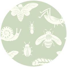 Teagan White for Birch Organic Fabrics, Acorn Trail, KNIT, Tonal Bugs Mint