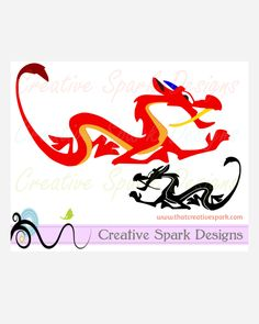 Disney's Mulan-inspired Mushu Dragon SVG Digital Download for Die Cutting machines, digital designs, cards, iron-on, scrapbook, party, decal by CreativeSparkDesigns on Etsy