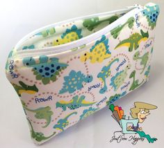 Dinosaurs Wet Bag Makeup Bag Cosmetic Bag Gadget by JustSewHappens, $12.99