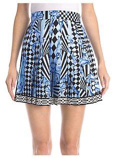 Versace Silk Twill-Pleated Mini Skirt