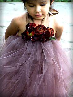 Beautiful Chocolate Brown Flower Girl Tutu Dress Perfect for Fall weddings 12 months - 6 girls