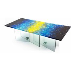Organic Series: Dining Table with Glass base by ORFEO QUAGLIATA  Materials: Boiled glass Dimensions: 72L x 40W x 30H  Options: Glass, color, size, commissions available