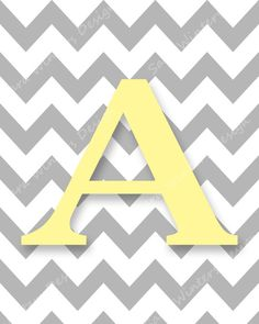 Items similar to Chevron Monogram Print - Gray and Yellow Letter - Personalized Nursery Art with Initial on Etsy Chevron Letter, Chevron Monogram, Elephant Baby Showers, Baby Boy Shower, Flamingo Painting, Baby Posters, Baby Frame, Yellow Chevron, Colorful Drawings