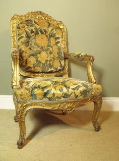 """Carved And Gilded Arm Chair Ca1850 Continental. 46""""H  x 28.5""""W x 27""""D."""