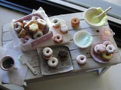 Dollhouse miniature frosting Easter donuts baking set by Kimsminibakery on Etsy