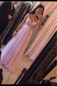 2016 Elegant Lovely Pink Long Chiffon Prom Dresses With Straps Lace Applique Evening Gown,Prom Dress,Formal Women Dress,http://bridesmaiddress.storenvy.com/products/16271871-2016-elegant-lovely-pink-long-chiffon-prom-dresses-with-straps-lace-applique