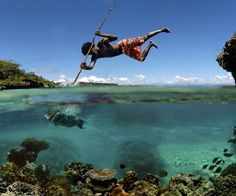 Ummmm, amazing shot. Over and under water spearfishing.