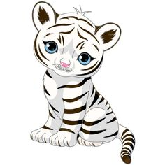 CLIPART WHITE TIGER | Royalty free vector design