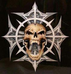 Friggin awesome work, and its all airbrush Indian Skull Tattoos, Evil Skull Tattoo, Skull Tattoo Design, Grim Reaper Art, Totenkopf Tattoos, Skull Pictures, Skull Artwork, Skull Wallpaper, Desenho Tattoo