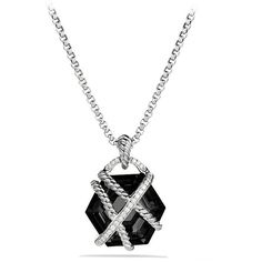 David Yurman Cable Wrap Pendant Necklace with Black Onyx and Diamonds (1,445 CAD) ❤ liked on Polyvore featuring jewelry, necklaces, box chain necklace, long pendant necklace, david yurman necklace, diamond pendant necklace and onyx pendant