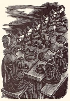 A long grace was said and a hymn sung - Jane Eyre Illustrated: Fritz Eichenberg